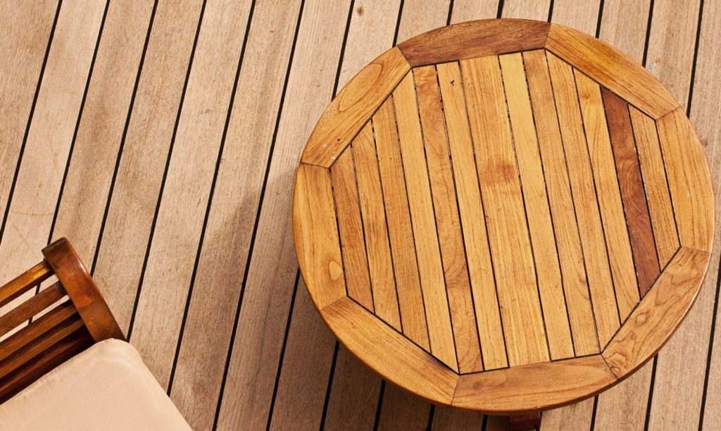 Rich wood deck and patio