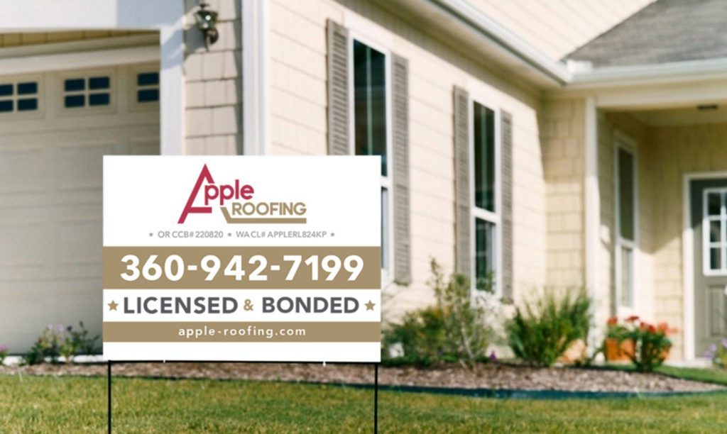 Apple Roofing Yard Sign
